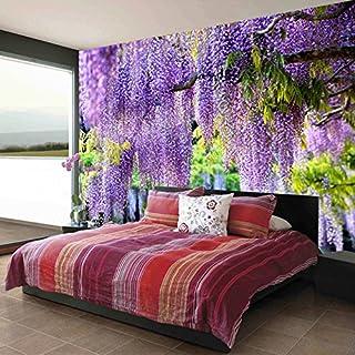 TIANXINBZ Custom Any Size 3D Mural Wallpaper Pastoral Purple Grape Trellis Nature Landscape Fashion Interior Living Room C...