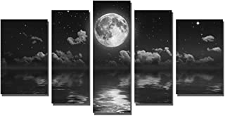Yin Art Black Seascape Canvas Wall Art Decor 5 pcs - Cloudy Starry Sky Skyline with Full Moon Over the Sea Ocean Water Picture Photo on Canvas for Home Decoration - Stretched and Framed Ready to Hang