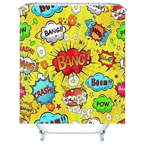 QNMDC Comic-Art-Explosions-Muster Druckduschvorhang, Mehltau-wasserdichter Polyester-Duschvorhang, Badezimmer-Szenen-dekorative Partition 180x200cm