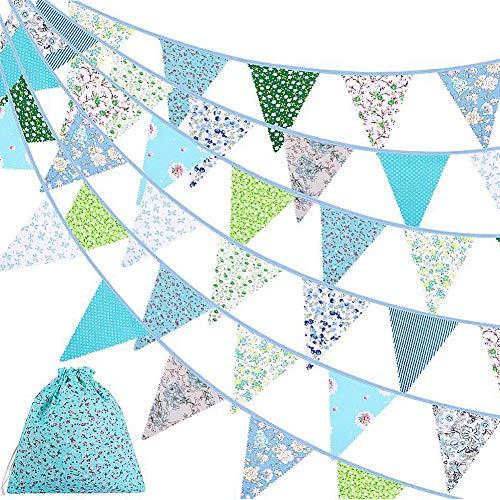 Ropniik Banderines de Tela de 40 pies con diseño Floral Vintage Reutilizable triángulo Bandera Guirnalda decoración banderines para Bodas, Fiestas de cumpleaños(Blau)