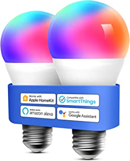 Homekit Light Bulb Meross Smart WiFi LED Bulb Dimmable Multicolor RGBWW, Remote Control, Equivalent 60W E27 2700K-6500K 81...