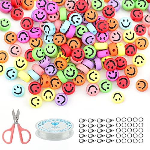 Juego de 100 cuentas de colores con forma de emoticono, 7 mm, acrílico, redondas, para hacer pulseras y hacer joyas, para enhebrar, hilo de perlas, color sin hilos (multicolor)