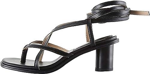 Calaier Femmes Calida Sexy en Cuir Fine Peep-Toe 5.5CM Talon Moyen Talon Self-Tie Sangle De Cheville Sandwich Sandales Chaussures