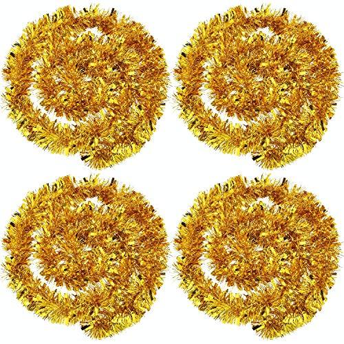 BBTO 4 Stück Weihnachten Lametta Girlande Metallisch Lametta Girlande Glänzend Weihnachtsbaum Ornamente für Weihnachten Hochzeit Geburtstag Party Dekorationen (Gold)