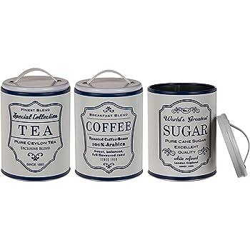 Bada Bing 3er Set Metalldose Kaffeedose Vorratsdose LANDHAUS Rund Blau Weiß Kaffee Tee Zucker Dose 42