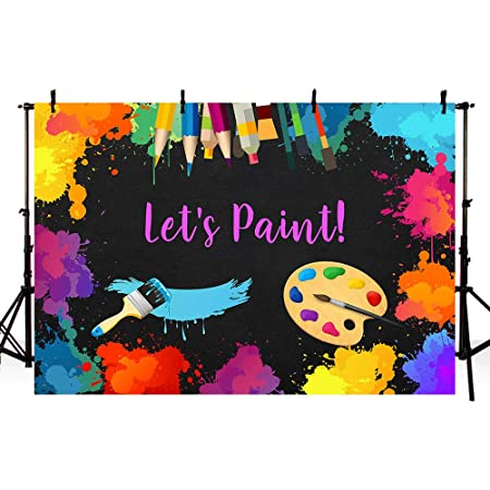 Avezano Lets Paint Party Backdrop for Kids 7x5ft Art Paint Birthday Party Photography Background Watercolor Colorful Graffiti Splatter Dress for a Mess Art Painting Party Photo Booth Backdrop