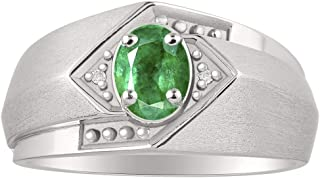 Classic Diamond and Green Emerald Ring Set in Sterling Silver .925