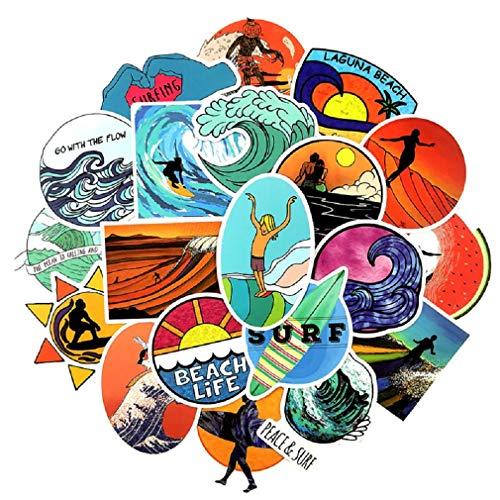 SetProducts  Top Pegatinas! Juego de 50 Pegatinas de Surf Vinilos - No Vulgares - Surfing, Playa, Beach - Personalización Portátil, Auto, Moto, Laptop, Mac, Pc