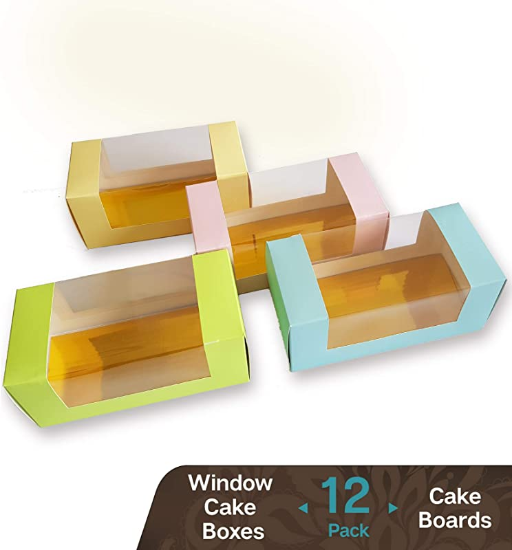 Cookeezz Couture Colored Window Cake Boxes 9 X 4 X 3 5 Inch Paperboard Boxes Auto Popup Great For Bakery Cakes Cupcake Assorted 12 Pack Boxes In 4 Pastel Colors Also Included 12 Cake Boards