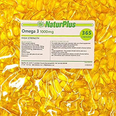 Omega 3 Fish Oil 1000mg 365 Softgels by NaturPlus
