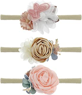 Baby Floral Headbands 3pcs Set Flower Crown Elastic HairBand for Newborn Infant Toddler Girls Accessories …