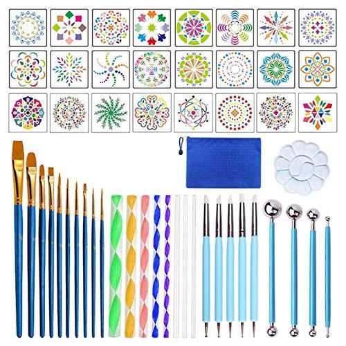 FENGLI Juego de 53 herramientas de punteado de mandala, pinceles de puntos, puntos, puntos, bandeja, pintura para rocas, pintura de uñas, dibujo artístico.