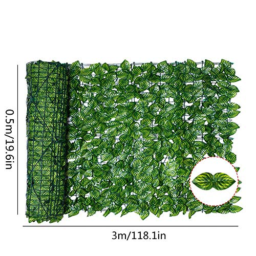 Chowaway Artificial Leaf Screening, Roll UV Fade Protected Privacy Hedging Wall Landscaping Garden Fence Balcony Screen Expanding Willow Trellis With Leaves, Outdoor Garden Privacy Screen