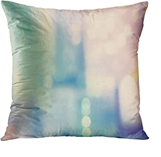 Llsty Throw Pillow Covers 16 x 16 inches Blurred Blue Pink Urban Building Background Polyester Soft Square for Couch Sofa Bedroom