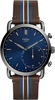 FOSSIL Commuter - Smartwatch con pelle a strisce marroni - FTW1182