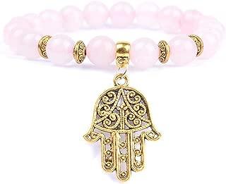 Natural Stone Rose Quartzs Beaded Bracelet Boho Golds Plated Hand Charm Bracelets for Women Men Yoga Jewelry Wholesale Rose Quartz 16cm