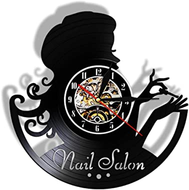 Huanxidp Nail Salon Fashion Girl Vinyl Wall Clock Manicure Retro Wall Watch Gift idea for Manicurist Beauty Salon Nail Bar Wa