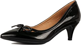 Guilty Shoes Womens Classic - Closed Pointy Toe Low Kitten Heel - Dress Slip On Pump