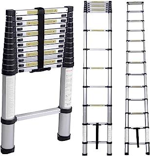 Serface Klappleiter Teleskopleiter 8 x 8 Stangen Mit Rutschfesten Stahlgummidichtungen,Mehrzweckleiter Anlegeleiter Aus Hochwertigem Alu 150 kg Belastbarkeit 3.8M