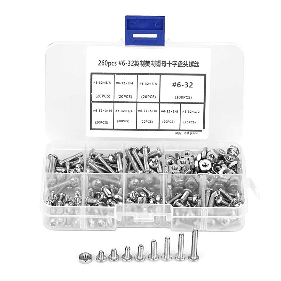所有者シャッフルリングレットプレミアム304ステンレス鋼#6-32クロスなべ頭ねじ付きプラスチックボックスキットの品揃えセット、260pcs