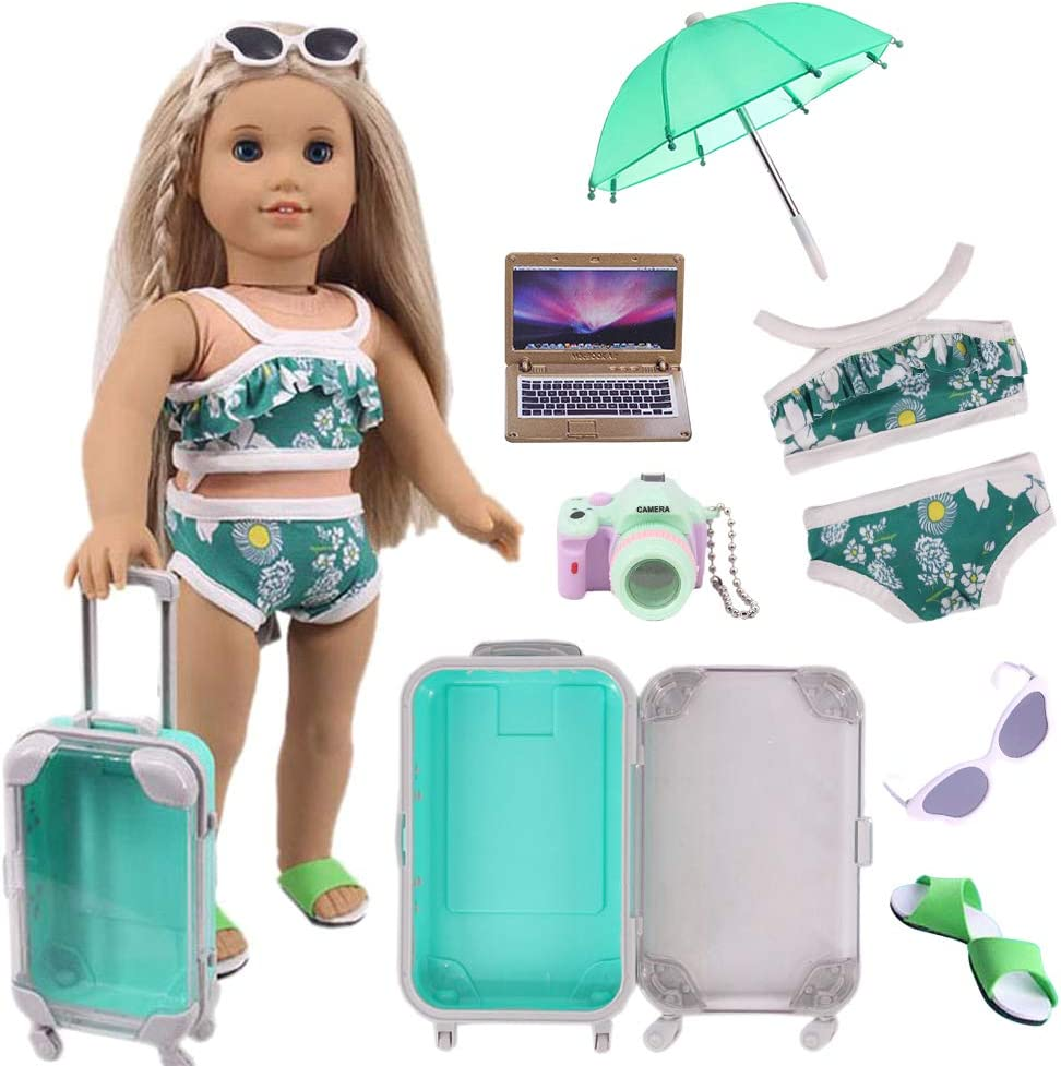 Doll Travel Set Suitcase,Travel Luggage Doll Accessories with Green Suitcase, Camera, Sunglasses, Bikini, Slippers, Notebook, Umbrella for American Girl Dolls