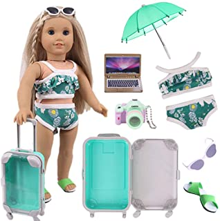 Doll Travel Set Suitcase,Travel Luggage Doll Accessories with Green Suitcase, Camera, Sunglasses, Bikini, Slippers, Notebo...