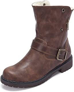 CAMEL CROWN Wide Calf Boots for Women Round Toe Leather Combat Boots with Zipper, Buckle Strap