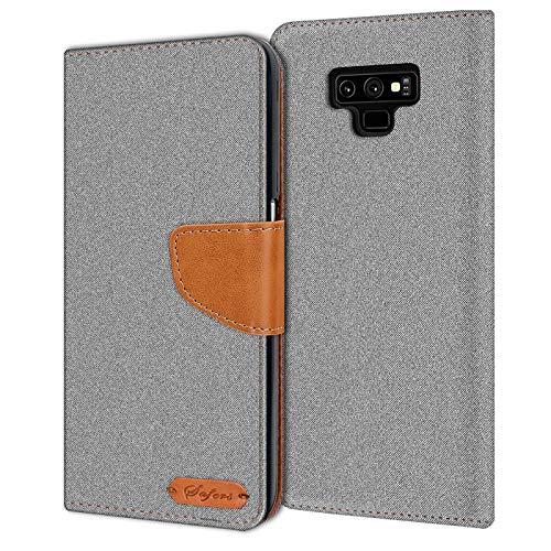 Verco Galaxy Note 9 Hülle, Schutzhülle für Samsung Galaxy Note 9 Tasche Denim Textil Book Hülle Flip Hülle - Klapphülle Grau