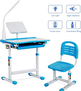 Mecor Children Desk, Height Adjustable Kids Study Table and Chair Set, Childs Desk w/Lamp School Student Writing Desk w/Pull Out Drawer Storage,Pencil Case,Bookstand Blue