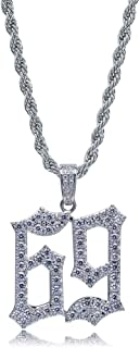 JINAO Micropave Simulated Diamond Iced Out 69 Pendant Necklace