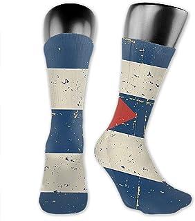 Calcetines deportivos retro con diseño de bandera cubana para hombre, que absorben la humedad, para practicar deportes al aire libre, rendimiento