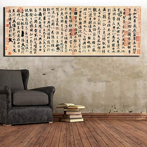Cyalla Chinesische Traditionelle Kalligraphie Und Gemälde Für Schlafzimmer Chinesischer Kalligraph Xizhi Wang Orchideen Pavillon Kunst Poster Und Druck 40X120Cm