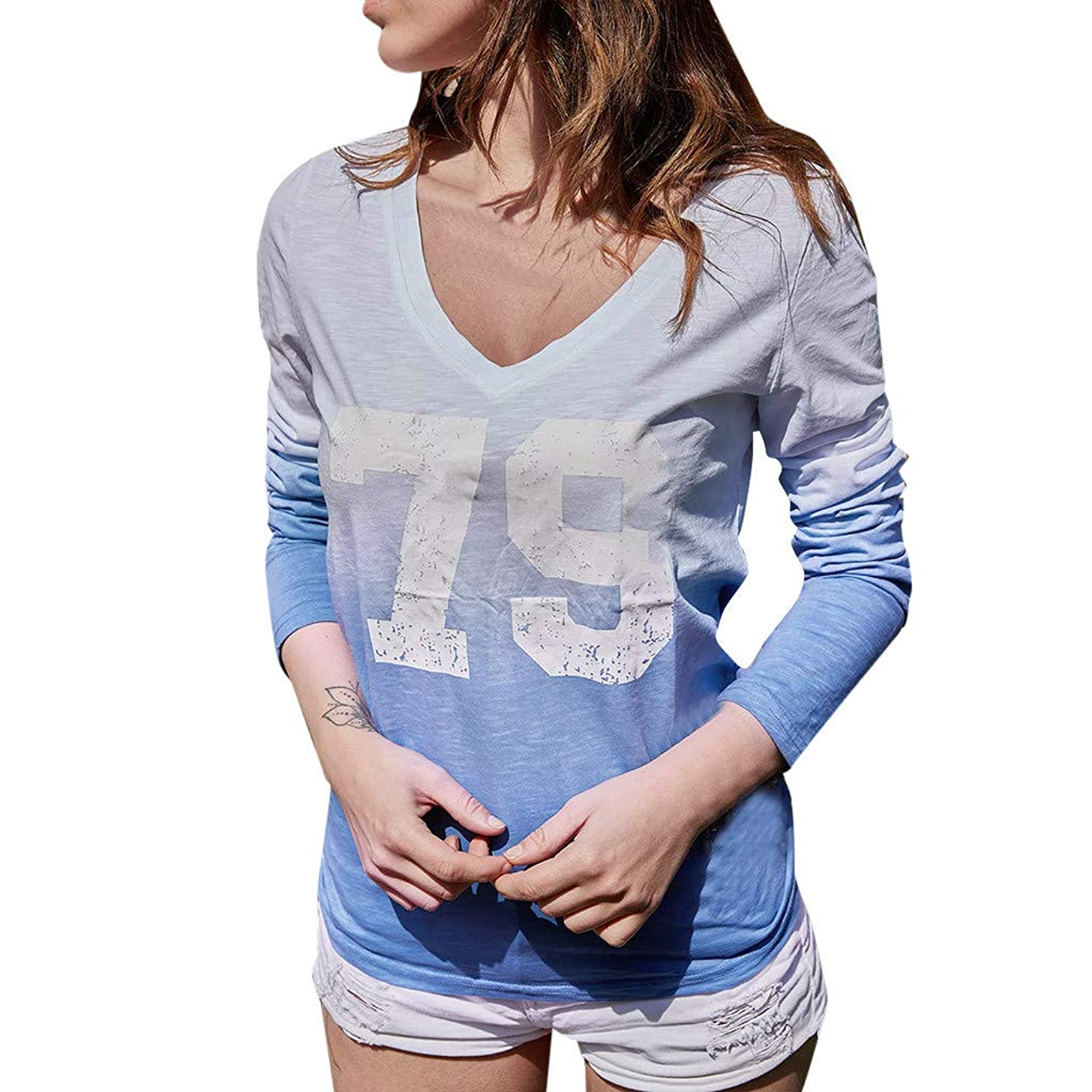 LONGDAY Women T-Shirt Casual Loose Long Sleeve Sweatshirt Tops Blouse Summer Tunic V-Neck Gradient Shirt Print Pullover