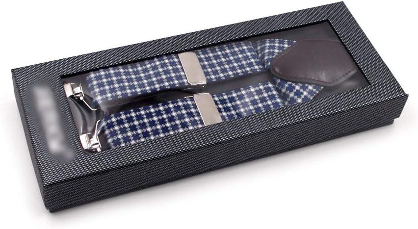 ZYDP Mens Suspenders Patten Printed Y-Back Wide Adjustable Straight Clip Suspenders (Color : Dark Blue)