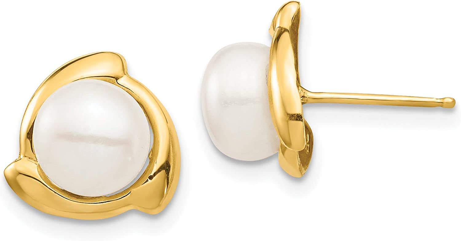 14K 7-8mm White Button Freshwater Cultured Pearl Post Earrings