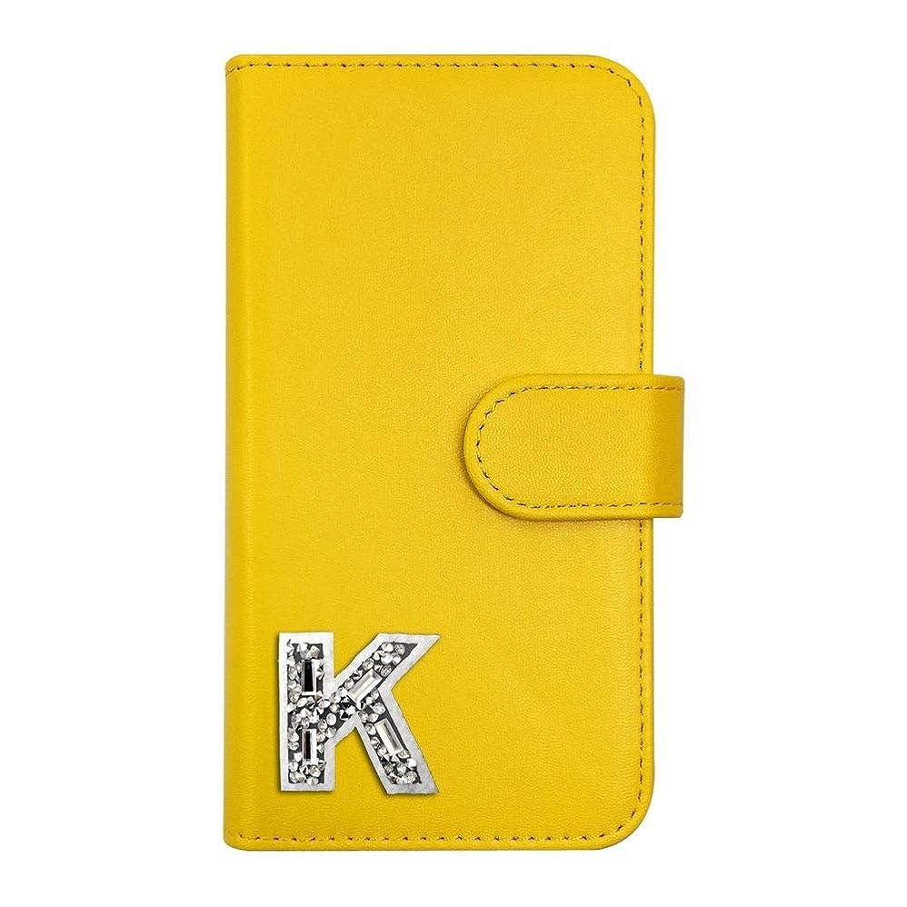 氏温かい平方sslink iPodTouch5 アイポッドタッチ5 ケース 手帳型 イニシャル K キラキラ ワッペン アルファベット デコ キラキラ (イエロー) ダイアリータイプ 横開き カード収納 フリップ カバー スマートフォン