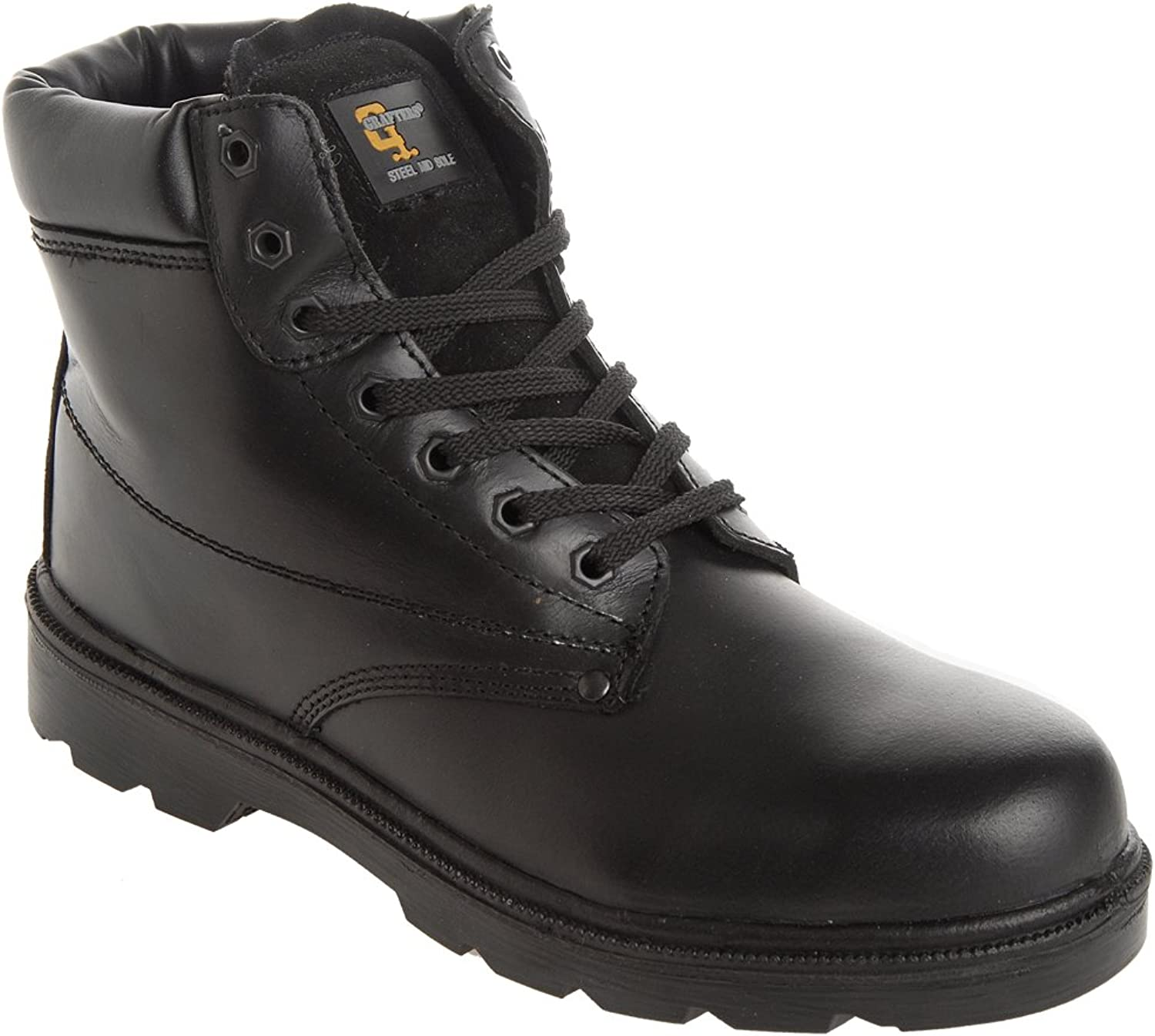 Grafters Unisex Steel Toe Midsole Padded Safety Boots Black