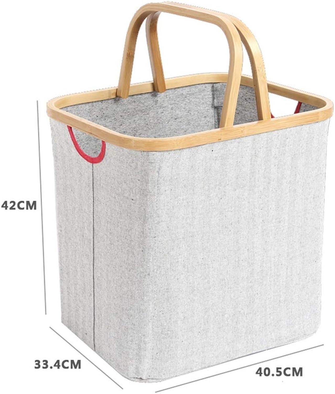 Storage Basket Toy Storage Laundry Basket Household Simple Japanese Carbonized Fabric Folding Waterproof Storage Basket ZHANGQIANG (color   White Stripe, Size   High Handle Basket)