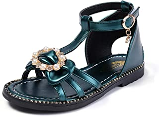Tuoup Leather Beaded Jeweled Fashion Flat Sandals for Girls