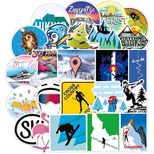 LVLUO Etiqueta engomada del esquí Estilo Deportivo Mochila monopatín decoración Creativa Equipaje esquí Nevera Forma Etiqueta engomada del Ordenador portátil 70 Uds