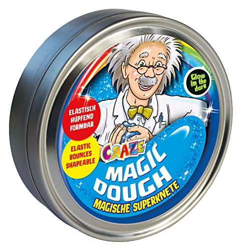 CRAZE MAGIC DOUGH Professor Intelligente Superknete für Kinder 80g In Dose Glutenfreie Kinder-Knete Nachtleuchtend Mehrfarbig Metallic Glitzereffekt 58856
