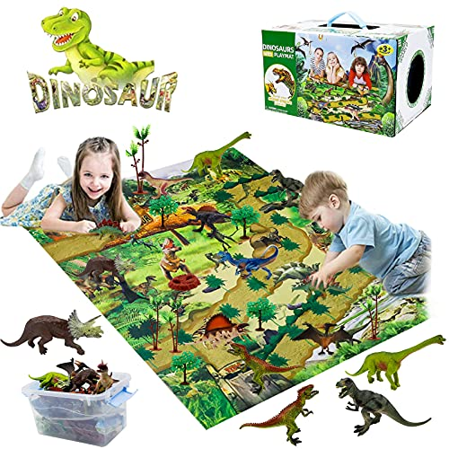 YUNKE Juego de juguetes de dinosaurio, figura de dinosaurio con tapete de juego y árboles, juego realista de dinosaurios para niños, crea un mundo de dino incluyendo T-Rex para niños