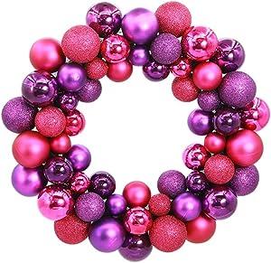 Couronne de Noel Tinksky 55 Boules de Noel a Decorer Deco Noel (Rose Rouge Violet)
