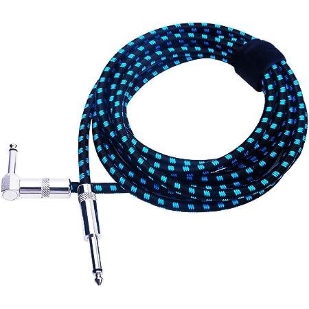 Rayzm Câble Tressé Blindé 5 mètres pour Guitare/ Guitare Basse, Câble pour Instrument Mono Mâle Coudé 1/4 Inch (6.35mm) Tweed Tissé - Bleu