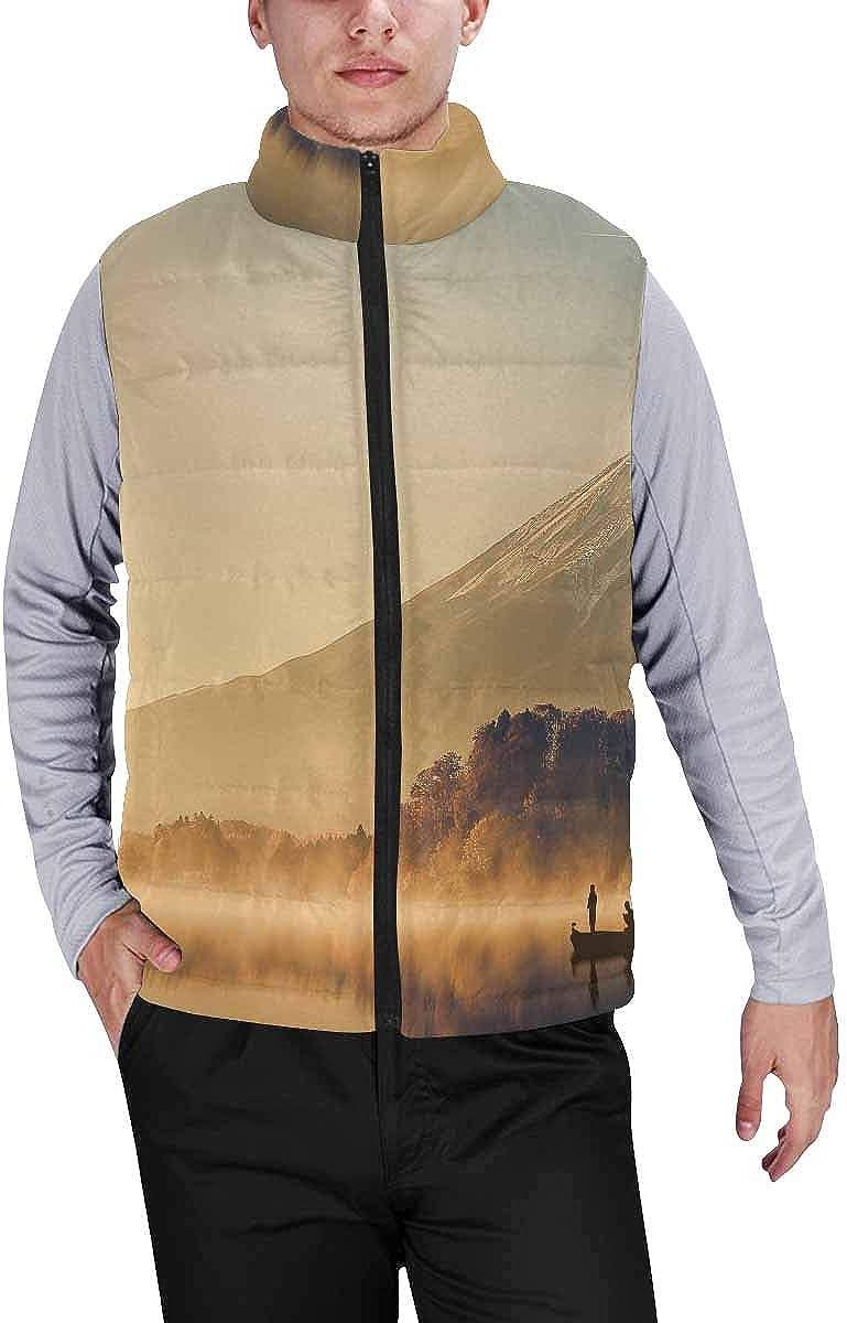 InterestPrint Men's Lightweight Vest Softshell for Camp Moraine Lake in Banff National Park