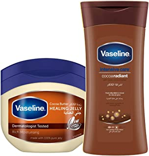 Vaseline Petroleum Jelly Cocoa Butter 250 ml With Body Lotion Cocoa Radiant, 200 ml