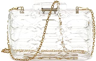 Neon Transparent Clear Acrylic Plastic Hard Frame Evening Clutch Case with Chain Shoulder Strap