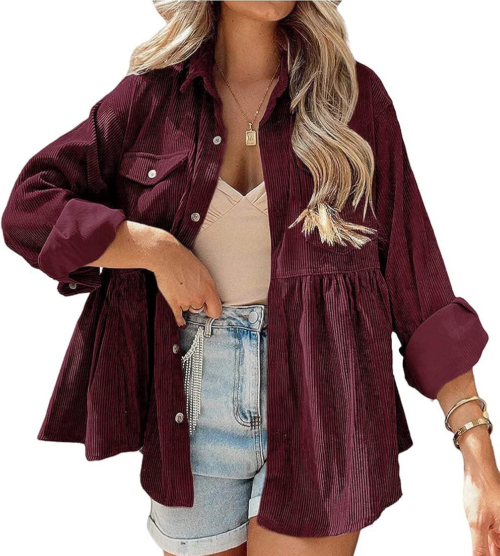 JINZHAO Womens Corduroy Peplum Shirts Tops Cute Long Sleeve Button Down Blouses with Pockets