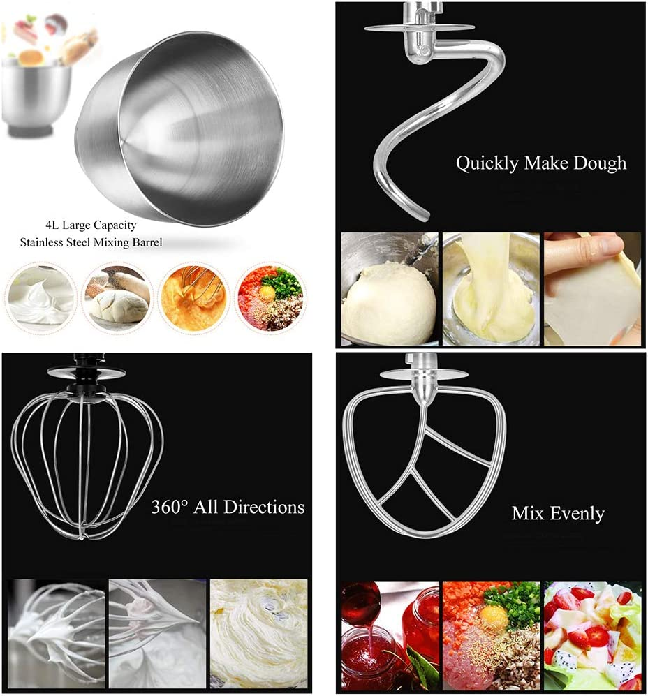 Stand Hand Mixer, 600W Food Mixer, 6 Speed Kitchen Electric Whisk met Beater, Dough Hook, Klop, 4L Mengkom & Splash Guard,Red Black
