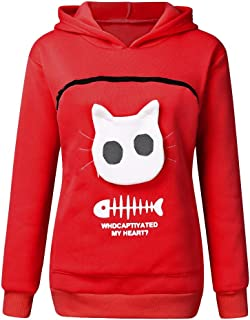 Becobe 🐶 Carry Little Animal Women's Pouch Hood Sweatshirt, Carry Cat Breathable Tops Pullover Blouse Animal (Red)